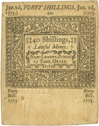 Early Paper Money of America / Connecticut / January 2, 1775