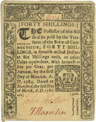 Early Paper Money of America / Connecticut / March 1, 1780
