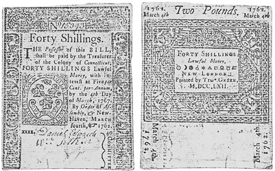 Early Paper Money of America / Connecticut / 1762 March 4