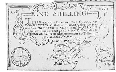 Early Paper Money of America / Connecticut / 1740 May 8 redated 1744/45 March 14