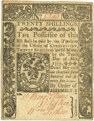 Early Paper Money of America / Connecticut / 1775 May 10