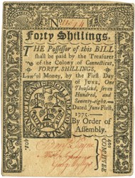 Early Paper Money of America / Connecticut / 1775 June 1