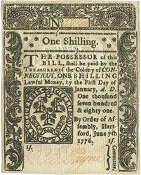 Early Paper Money of America / Connecticut / 1776 June 7