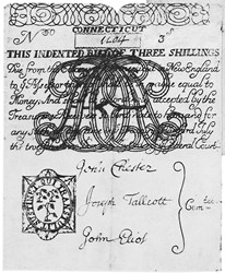 Early Paper Money of America / Connecticut / 1709 July 12 Monogrammed AR