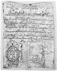 Early Paper Money of America / Connecticut / 1709 July 12 redated May 1713 (Scroll)