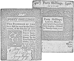Early Paper Money of America / Connecticut / 1771 October 10