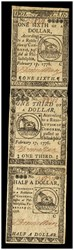 February 2, 1776 3-note strip