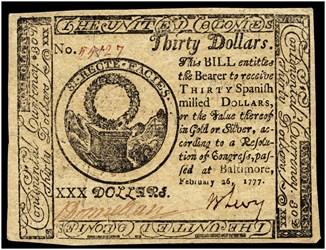 February 26, 1777 $30