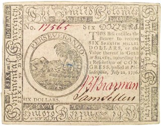 Early Paper Money of America / Continental Currency / 1776 July 22