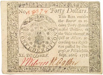 Early Paper Money of America / Continental Currency / 1778 September 26