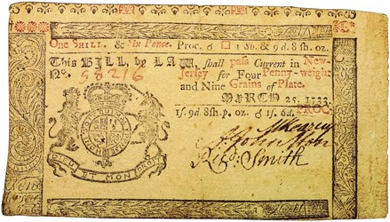 Early Paper Money of America / New Jersey / 1733 March 25