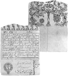 Early Paper Money of America / Rhode Island / July 5, 1715 redated 1726