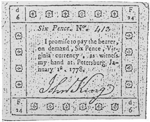 Early Paper Money of America / Virginia / John King, January 1, 1778