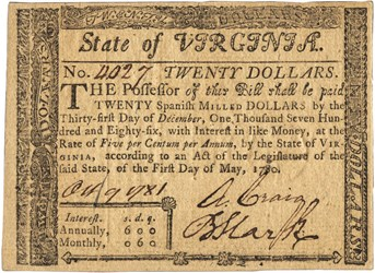 Early Paper Money of America / Virginia / 1780 May 1 Act