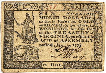 Early Paper Money of America / Virginia / May 4, 1778 Act with Handwritten Date