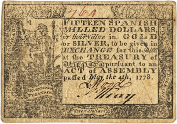 Early Paper Money of America / Virginia / 1778 May 4 Act with Printed Date