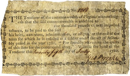 Early Paper Money of America / Virginia / 1780 July 25