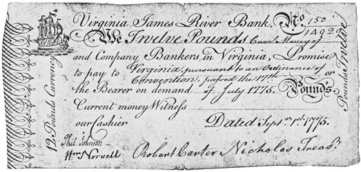 Early Paper Money of America / Virginia / September 1, 1775 James River Bank Forms
