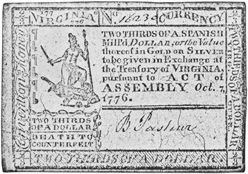 Early Paper Money of America / Virginia / 1776 October 7 Act