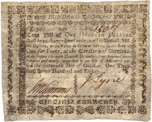 Early Paper Money of America / Virginia / October 16, 1780 Act with Printed Back