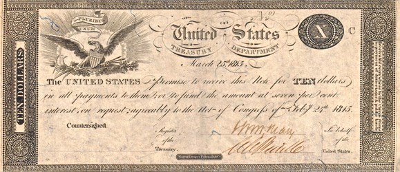 1815 $10 Treasury Note