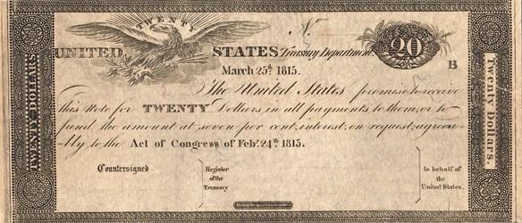 1815 $20 Treasury Note