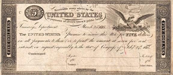 1815 $5 Treasury Note