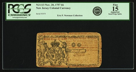 Early Paper Money of America / New Jersey / 1757 November 20