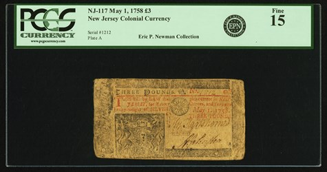 Early Paper Money of America / New Jersey / 1758 May 1