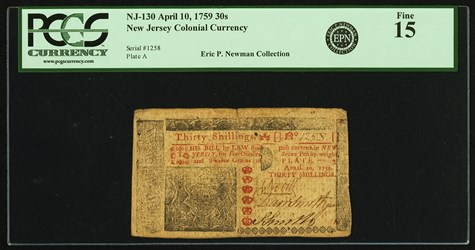Early Paper Money of America / New Jersey / 1759 April 10