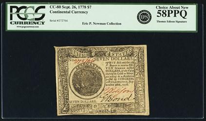 September 26, 1778 $7