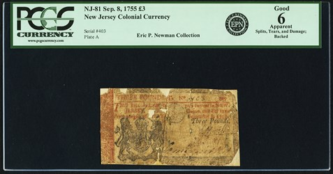 Early Paper Money of America / New Jersey / 1755 September 8