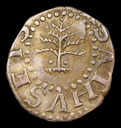1652 3PENCE PINE TREE, Pellets at Trunk, MS