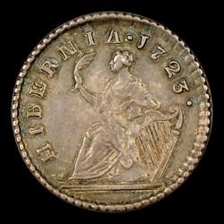 1723 Hibernia Pattern Farthing, Silver