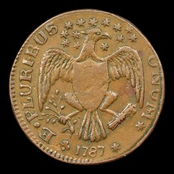 1787 New York Excelsior Copper, Eagle Left, BN