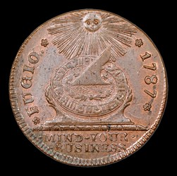 1787Fugio Cent, UNITED Above, BN