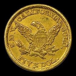 1849 Moffat & Co. Five Dollar