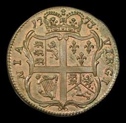 1773 Virginia Halfpenny, No Period, BN