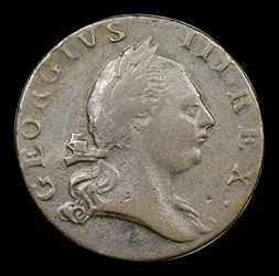1773 Virginia Halfpenny, No Period, BN