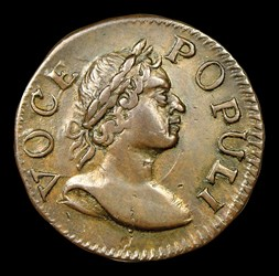 1760 Hibernia-Voce Populi Farthing, Large Letters, BN