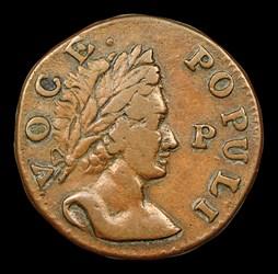 1760 Hibernia-Voce Populi Halfpenny, P Before Face, BN