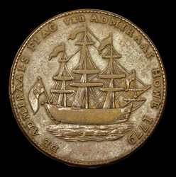 RI SHIP Rhode Island Ship Token, Wreath Below, Copper, BN
