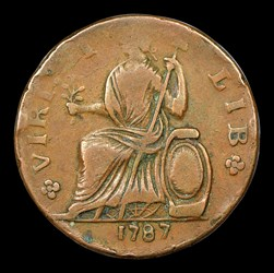 1787 Nova Eborac Copper, Seated Left, BN
