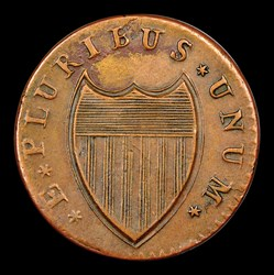 1787 New Jersey Copper, Small Planchet, Plain Shield, MS, BN