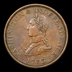 1783 Washington & Independence Cent, Small Military Bust, Plain Edge, BN