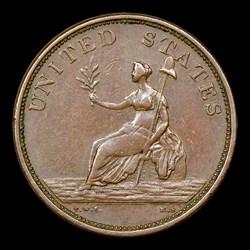 1783 Washington & Independence Cent, Small Military Bust, Plain Edge, BN