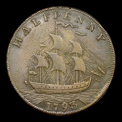 1793 Washington Ship Halfpenny, Copper, Lettered Edge, BN