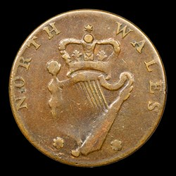 1795 Washington North Wales Halfpenny, Plain Edge, One Star at Each Side of Harp, BN