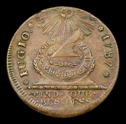 1787 Fugio Cent, STATES UNITED, 4 Cinquefoils, Pointed Rays, MS, BN