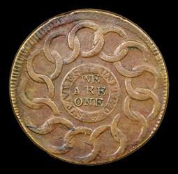 1787 Fugio Cent, STATES UNITED, 4 Cinquefoils, Pointed Rays, MS, BN
